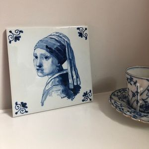Vintage kitchen tile THE GIRL WITH THE PEARL EAR
